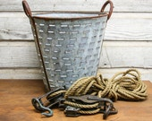 Vintage French Olive Basket -- Industrial Storage
