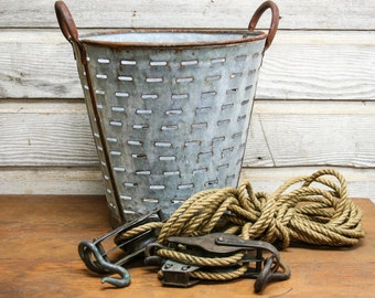 Vintage French Olive Basket -- Industrial Storage