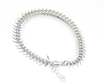 ON SALE! Fish-bone bracelet: Chunky Bracelet - silver plated