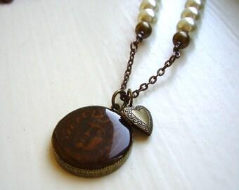 Cream pearl antique necklace, Antique bronze enamel pendant, Heart locket pendant