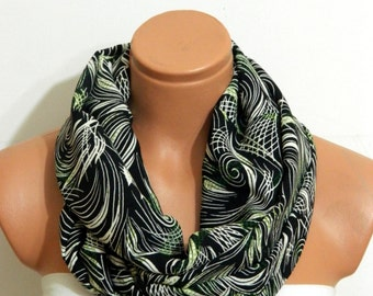 leaf pattern infinity scarf,Gift scarf Infinity Scarf,Black and  Green scarf,Loop Scarf,Circle Scarf,.Ultra soft..Nomad Tube...