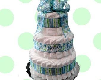 3 Layer Festival Blue -  Baby Shower Diaper Cake Gift Set