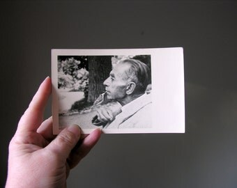 Avian Romance Vintage Real Photo Postcard RPPC Bird Takes Seed From Man's Mouth
