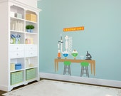 Kids Scientist Lab Playroom Backdrop - Wall Decal Custom Vinyl Art Stickers