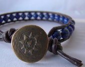 Unisex Blue Lapis Single Leather Wrap