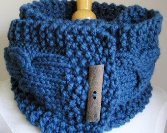 "Cabled Scarf -- ""Lucky Horseshoes"" -- Wool Blend -- Medium Version in blue, with large rectangular wooden button"