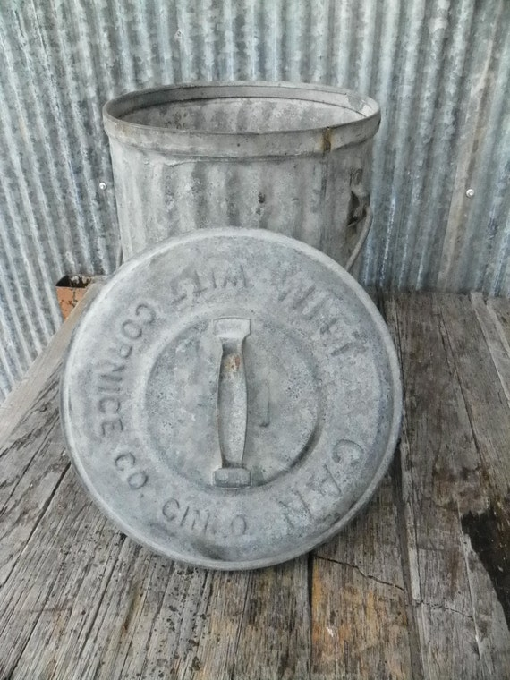 Vintage Industrial Factory Galvanized Trash Can With Lid Heavy