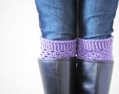 light purple boot cuffs. crochet boot socks. orchid leg warmers. knit boot toppers. crochet boot cuffs. womens boot cuffs. boot warmers.