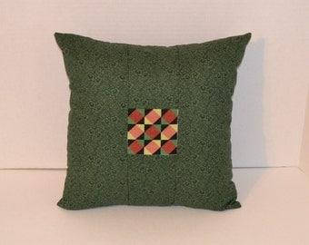 Decorative Pillow Cross Stitch Quilt Block 14 x 14 Green Calico Handmade LittlestSister