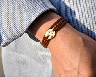 Men's Personalized Gold or Silver Bracelet- free shipping
