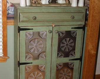 Pie Safe,  FREE SHIPPING, Punched Tin, Cabinet, Shabby, Chic, Media Storage, Book Case, Pantry, Primitive, Rustic
