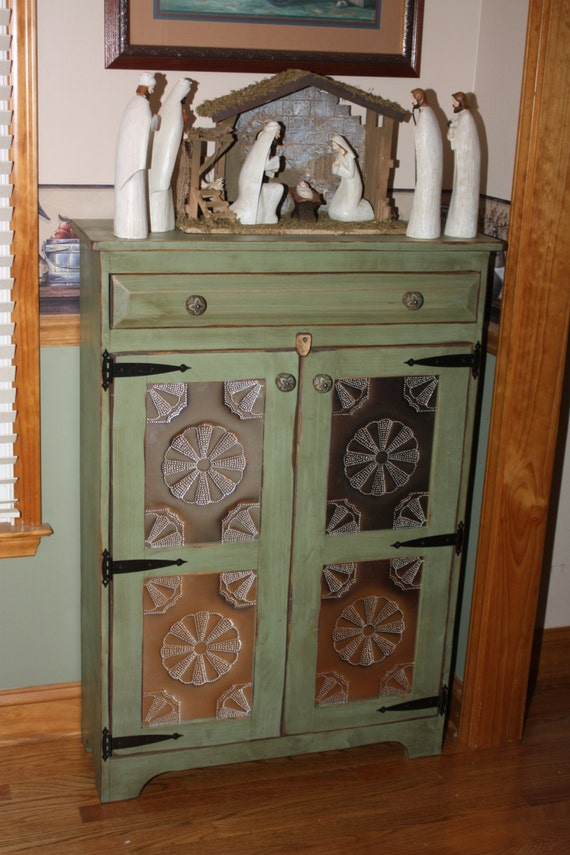 Pie Safe FREE SHIPPING Punched Tin Cabinet Shabby Chic - Copper Kitchen Cabinet Knobs