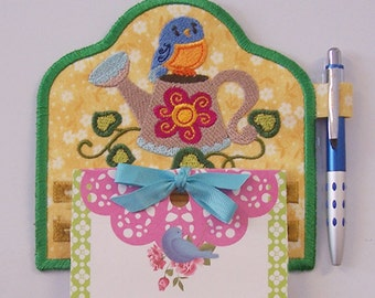 Cute Little Blue Bird on Watering Can Magnetic Embroidered Notepad Holder