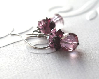 Bridal cluster earrings silver earrings pink quartz earrings