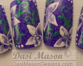 Violet with Lavender Flowers Acrylic Instant Nail Set
