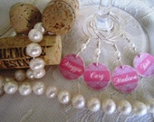 Pink, Lace, & Pearls - What Could Be More Elegant Personalized Wedding Wine Charms - Set of 4