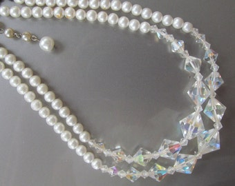 Aurora borealis and pearl 2 strand necklace
