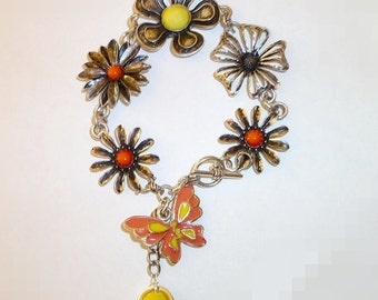 Coral and yellow flower bracelet