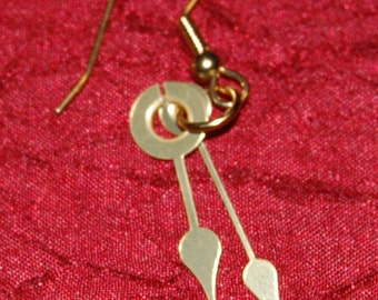 Brass Clock Hands Earrings - Steampunk