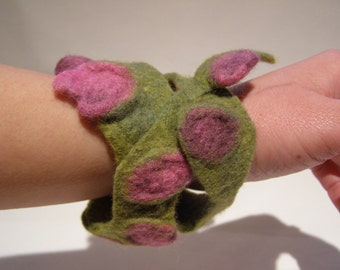 Wet Felted Cuff Bracelet, 'Waterlilies' twisted, textured, green, pink, flowers, springtime.