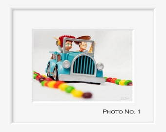 Toy Story decor PRINT Woody and Jessie on the Skittles candy road, Fine Photo Room, Artwork Kid Child Room Cowboy Cowgirl Children Playroom