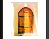 Sash Wood Door Photography PASTEL WOODEN DOOR Wall Art Yellow Light Green Pink Photo Print