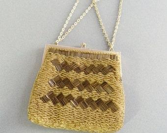 Magid Beaded Ladies Purse - Gold Glitter Beaded Ladies Woman's Bag