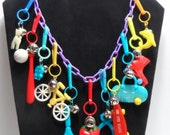 80s Plastic Charms with Bells Purple Chain Necklace