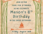 Printable Birthday Camp Invitation - 5x7 - Vintage Camping Campsite Bonfire Tree Nature Outdoors Summer Kids Childrens