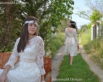 Short Wedding Dress, 50s Ivory Dress, Sleeve Bridal Dress Open Back Dress, Vintage Bridal Dress Lace Wedding Gown, Handmade SuzannaM Designs