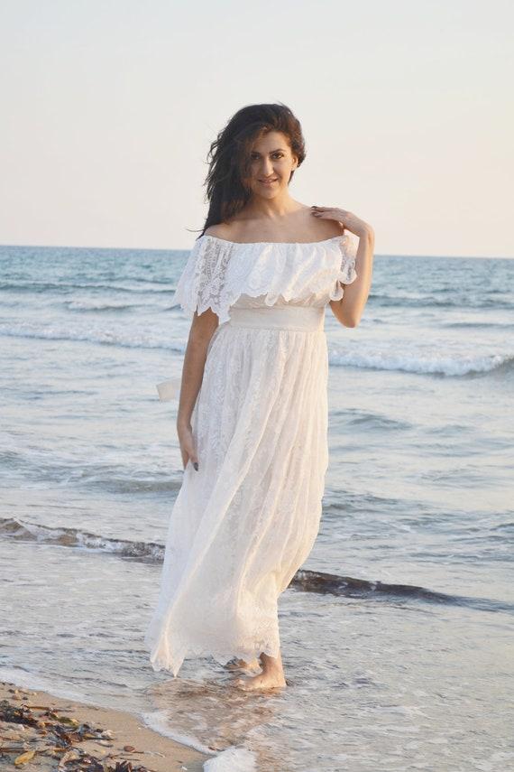 Ivory Lace Wedding Dress Beach Bohemian Wedding By 8dbb2c129514