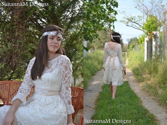 Ivory Crepe Open Back Wedding Dress And Handmade: Short Wedding Dress 50s Ivory Dress Sleeve Bridal Dress Open