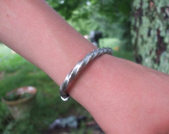 Thors twist Norse world dragon viking torc hand hammered cuff bracelet fine silver pewter with gemstone
