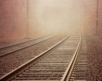 Rails Into the Mist - Surreal Dreamy Railroad Fog Travel Transportation Wanderlust Train Tracks Railway