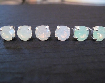 Opal Swarovski Studs/ Opal Earrings /Bridesmaid Earrings/ Pink Opal Earrings/Green Opal Studs/Swarovski Earrings/ White Opal