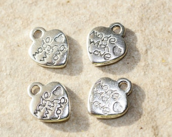 25pcs Silver Heart Charms / Bracelet - Necklace Charms