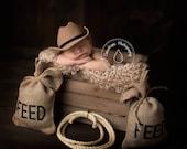 Country Western    Burlap Feed sacks & Lasso    Photo Prop, Photography prop, Cowboy,Farm,Country,Western