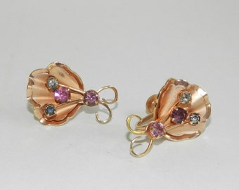 Vintage BN Rose Gold Plated Leaf and Rhinestone Earrings
