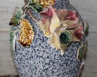Victorian Sand Majolica Vase - Large Unique - Vintage - Barbotine - 1900s - Porcelain - Collectibles - Home Decor - Housewares