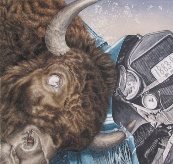 "Bison Versus Antique Car/Ford Model T - Giclee Print of Original Art watercolor painting 10""x10.5"" fine art print"