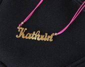 Handmade custom name necklace, handcut personalized gold plated sterling silver name