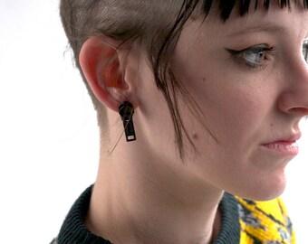 Handmade Black Zipper Pull Earrings - Post Back
