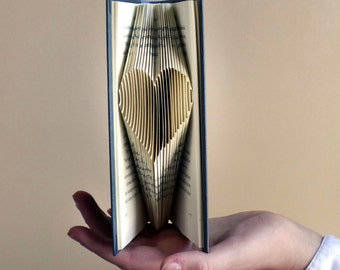 Wedding Decoration - Paper Anniversary - 1st Wedding - Love - Folded Book - Paper Art - Small Heart - Altered Book