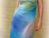 SALE. Sheer Silk Blue Cross-Front Dress with Short-Sleeves in Rainbow-Color Mousseline with Suede Trim & Underslip.