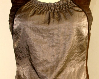 Sleeveless Blouse, Crop Top in Satin, Satin Blouse, Ruched Top in Mocha Satin w/ Smocked Neckline & Suede Trim, Edwardian Style, OOAK