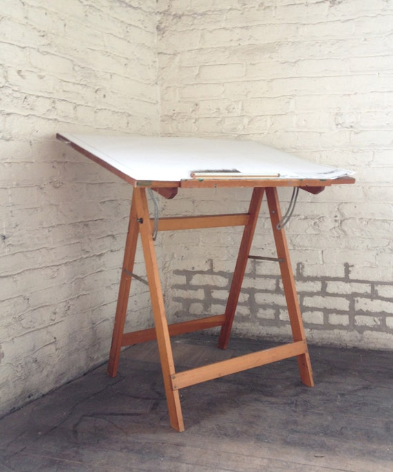 vintage wood drafting table by halfbrother on etsy