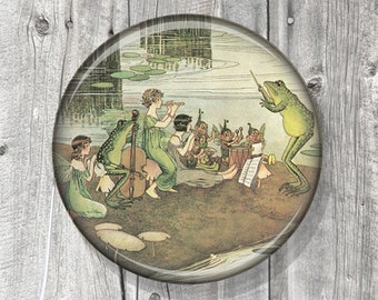 Pocket Mirror - Fairy - Musical Instruments - Compact Mirror Illustration Image - Vintage Storybook - Party Favor - Gift under 5 - A131