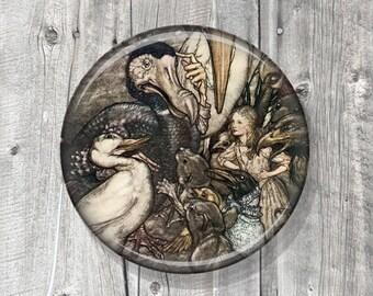 Pocket Mirror - Alice In Wonderland - Gift - Compact Mirror Vintage Illustration - gift under 5 - party favor - A16