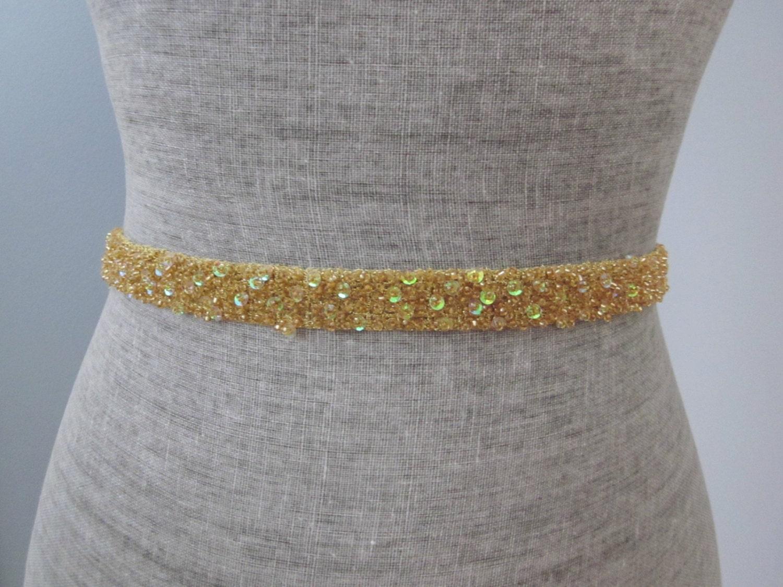 gold metallic sequin and beaded wedding sash belt