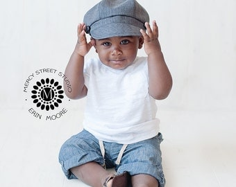 Boy Baby Toddler Newsboy Black Hat spring summer Fabric Photography Prop cap button wedding